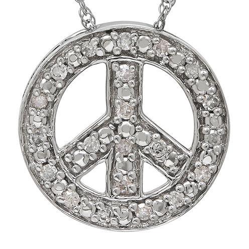 1/10 CT. T.W. Diamond 14K White Gold Peace Sign Pendant Necklace