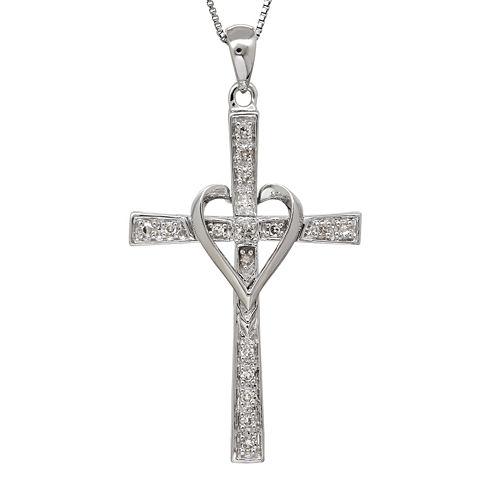1/10 CT. T.W. Diamond 14K White Gold Cross Pendant Necklace