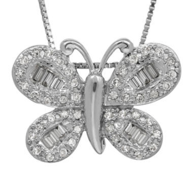 jcpenney.com | 1/4 CT. T.W. Diamond 14K White Gold Butterfly Pendant Necklace