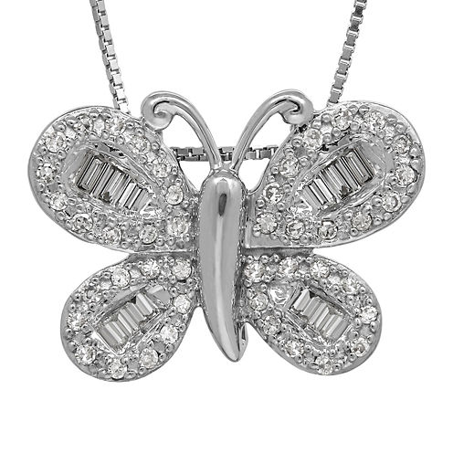 1/4 CT. T.W. Diamond 14K White Gold Butterfly Pendant Necklace