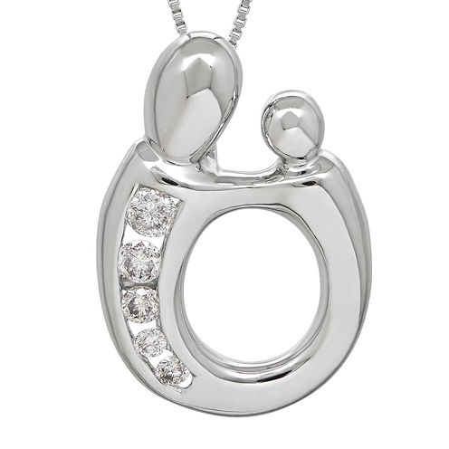 1/5 CT. T.W. Diamond 14K White Gold Mom and Baby Pendant Necklace