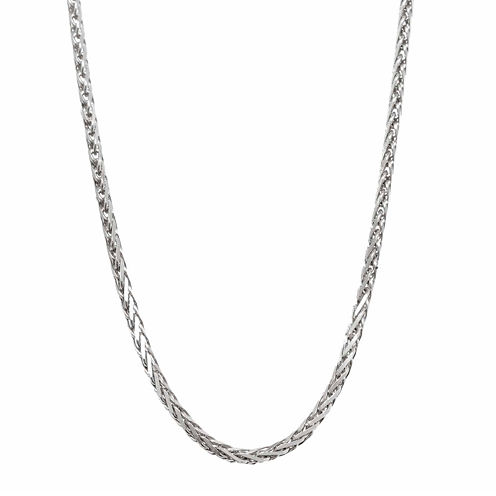 "14K White Gold Diamond-Cut Wheat Chain 16"" Necklace"