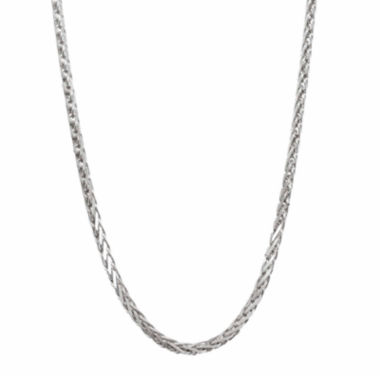 "jcpenney.com | 14K White Gold Diamond-Cut Wheat Chain 20"" Necklace"