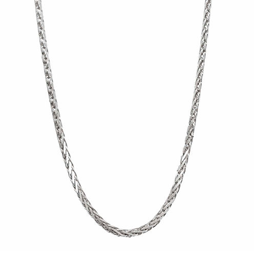 "14K White Gold Diamond-Cut Wheat Chain 20"" Necklace"