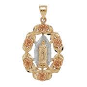 Tesoro™ 14K Tri-Tone Lady of Guadalupe with Rose Border Pendant