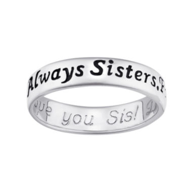 "jcpenney.com | Personalized Sterling Silver ""Always Sisters, Forever Friends"" Engraved Ring"