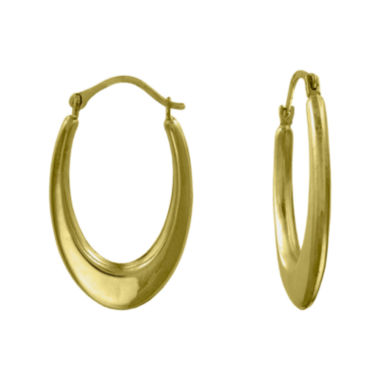jcpenney.com | Girls 14K Yellow Gold Oval Hoop Earrings