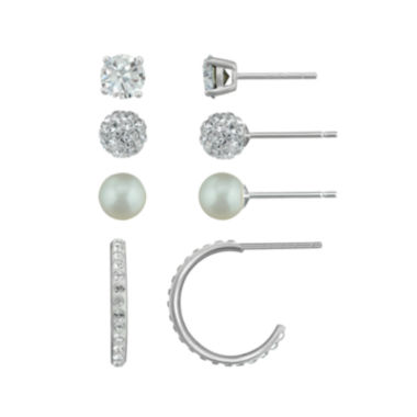 jcpenney.com | Girls Cubic Zirconia and Simulated Pearl Sterling Silver 4-pr. Earring Set