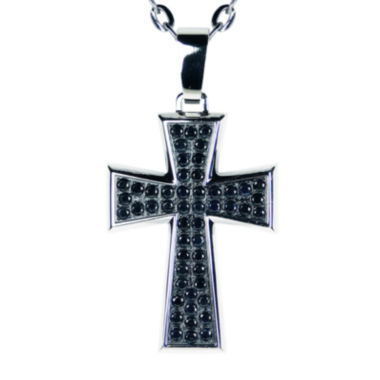 jcpenney.com | Mens Genuine Black Sapphire Gold IP Stainless Steel Cross Pendant