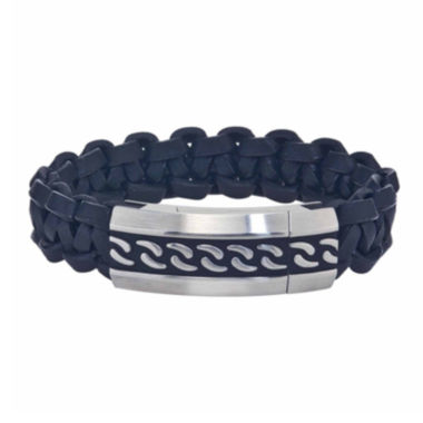 jcpenney.com | Mens Two-Tone Stainless Steel and Leather Bracelet