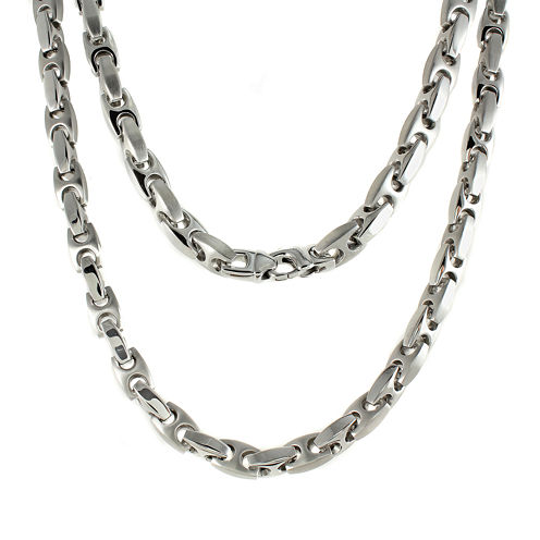 """Mens Stainless Steel Puff Mariner 24"""" Necklace"""