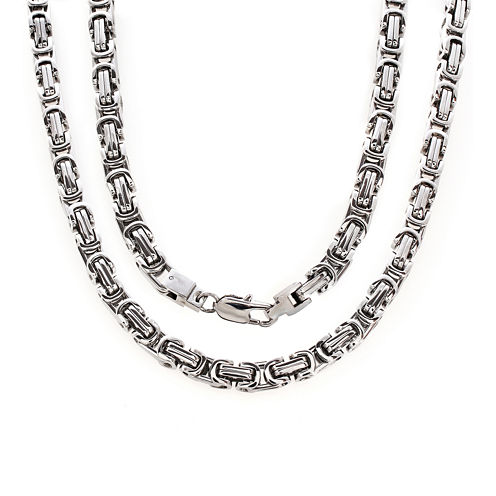 """Mens Stainless Steel Byzantine 24"""" Necklace"""