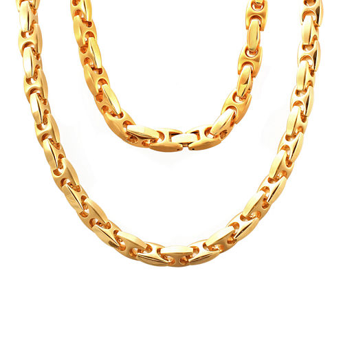 """Stainless Steel 24"""" Puff Mariner Link Chain Necklace"""