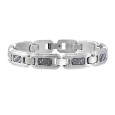 jcpenney.com | Mens Stainless Steel and Gray Carbon Fiber Bracelet