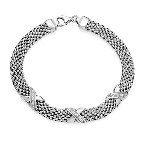 Made in Italy Crystal Sterling Silver X Popcorn Bracelet