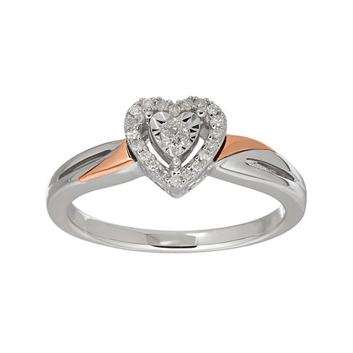 1/8 CT. T.W. Sterling Silver with 10K Rose Gold Heart Ring