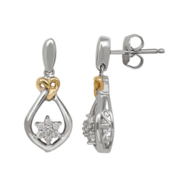 jcpenney.com | 1/5 CT. T.W. Diamond Sterling Silver with 14K Yellow Gold Accent Earrings