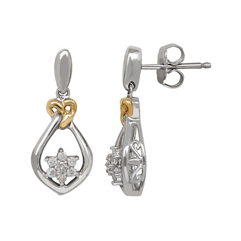 1/5 CT. T.W. Diamond Sterling Silver with 14K Yellow Gold Accent Earrings