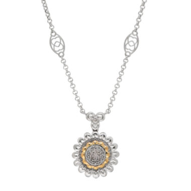 jcpenney.com | 1/10 CT. T.W. Diamond Sterling Silver with 14K Yellow Gold Accent Pendant Necklace