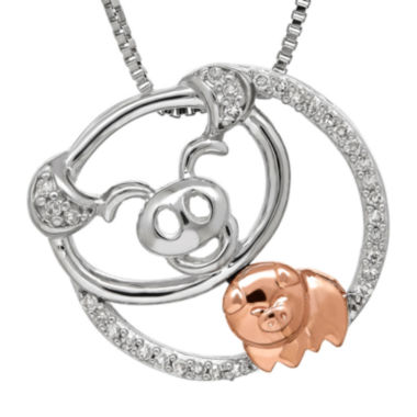 jcpenney.com | 1/10 CT. T.W. Diamond Sterling Silver with 10K Rose Gold Pig Pendant Necklace