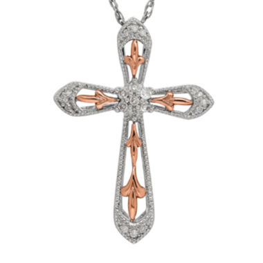 jcpenney.com | 1/10 CT. T.W. Diamond Sterling Silver with 10K Rose Gold Cross Pendant Necklace
