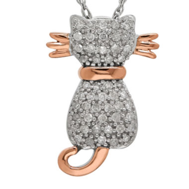 jcpenney.com | 1/5 CT. T.W. Diamond Sterling Silver with 14K Rose Gold Cat Pendant Necklace