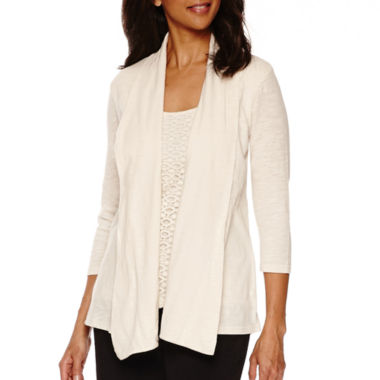 jcpenney.com | Sag Harbor® Animal Instinct 3/4-Sleeve Layered Top