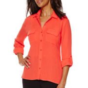 Sag Harbor Animal Instinct Long-Sleeve Button-Up Shirt
