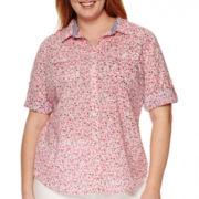 St. John's Bay® 3/4-Sleeve Roll-Tab Camp Shirt
