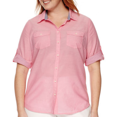 jcpenney.com | St. John's Bay® 3/4-Sleeve Roll-Tab Camp Shirt