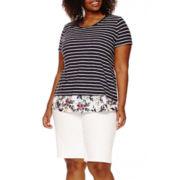 St. John's Bay® Short-Sleeve Layered Tee or Denim Bermuda Shorts