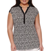Worthington® Cap-Sleeve Piped Y-Neck Tunic - Plus