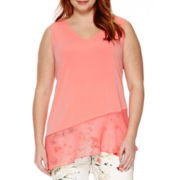 Worthington® Sleeveless Asymmetrical Top - Plus