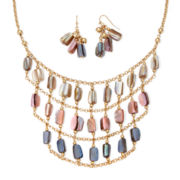 Mixit™ Multicolor Stone Gold-Tone Bib Necklace and Earring Set