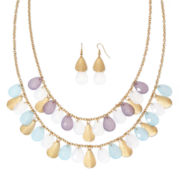 Mixit™ Gold-Tone Metal Faceted Bead Necklace and Earring Set