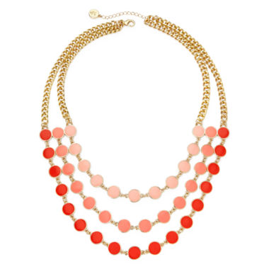 jcpenney.com | Liz Claiborne® Gold-Tone Orange Bead Layered Necklace