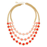 Liz Claiborne® Gold-Tone Orange Bead Layered Necklace