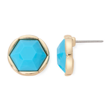 jcpenney.com | Monet® Gold-Tone Aqua Stud Earrings