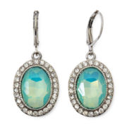 Monet® Silver-Tone Green Glass Crystal Drop Earrings