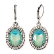 Monet® Silver-Tone Green Glass Crystal Drop Earrings