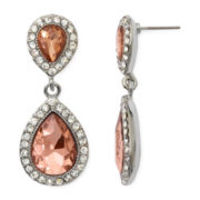Monet® Silver-Tone Peach Glass Crystal Double Drop Post Earrings
