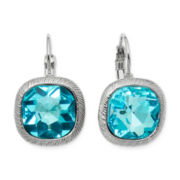 Monet® Aqua Stone Silver-Tone Drop Earrings