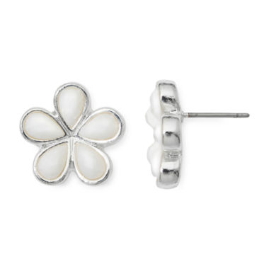 jcpenney.com | Liz Claiborne® White Stone Silver-Tone Flower Button Earrings