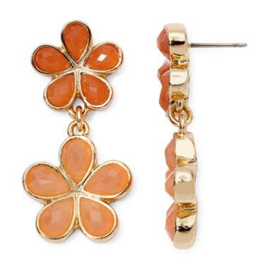 jcpenney.com | Liz Claiborne® Orange Stone Gold-Tone Flower Double-Drop Earrings