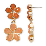 Liz Claiborne® Orange Stone Gold-Tone Flower Double-Drop Earrings