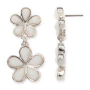 Liz Claiborne® White Stone Silver-Tone Flower Double-Drop Earrings