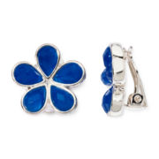 Liz Claiborne® Blue Stone Silver-Tone Flower Clip-On Earrings