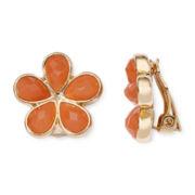 Liz Claiborne® Orange Stone Silver-Tone Flower Clip-On Earrings