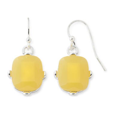 jcpenney.com | Liz Claiborne® Yellow Stone Silver-Tone Drop Earrings