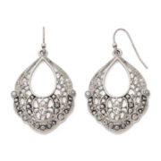 Liz Claiborne® Marcasite and Crystal Silver-Tone Open-Drop Earrings